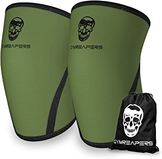 Knee Sleeves (Pair w/Bag) - Knee Compression Sleeve Support for Squats, Weightlifting, and Powerlifting - Gymreapers 7MM N...