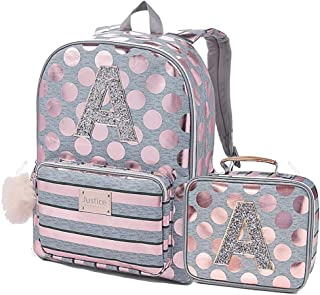 Justice Girls Rose Gold Foil Initial Backpack & Lunch Tote Gold (Letter A)