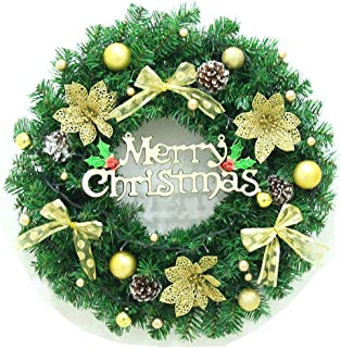 """Dolloly Christmas Wreath Large Front Door Wreath 15 Inch Wall Garland Decoration Christmas Party Decor (15.7"""", Gold)"""