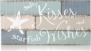 Honey and Me Salty Kisses Starfish Wishes Distressed Blue Color Blocking Design 18 x 9.5 Pallet Wood Style Wall Sign Plaque