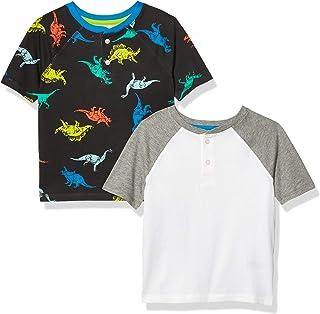 Amazon Essentials 2-Pack Boys Short-Sleeve Henley Shirt Fashion-t-Shirts Niños