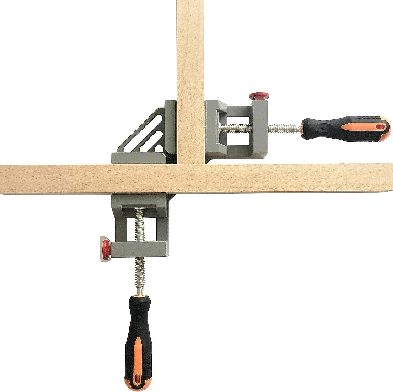 federbelastet Doppelgriff rechtwinklig Klemmwerkzeug Holzbearbeitung C CASIMR 90 Grad Eckklemme Schwei/ßklemme Silbergrau verstellbare Schwingbacke