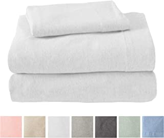 Great Bay Home Jersey Knit Sheets. All Season, Soft, Cozy Full Jersey Sheets. T-Shirt Sheets. Jersey Cotton Sheets. Heather Cotton Jersey Bed Sheet Set. (Full, Winter White)