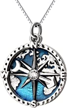YFN Compass Pendant Necklace Sterling Silver Navy Anchor Travel Map Necklace for Women Men