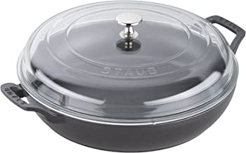 STAUB Braiser with Glass Lid, Matte Black, 3.5-Qt, 14813023