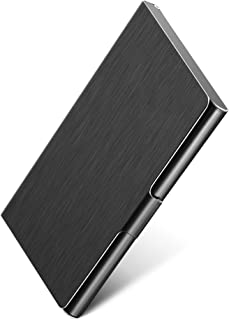 MaxGear Professional Metal Business Card Holder Pocket Business Card Case Slim Business Card Carrier Business Card Holders Wallet for Men & Women, 3.7 x 2.3 x 0.3 inches, Stainless Steel, Black