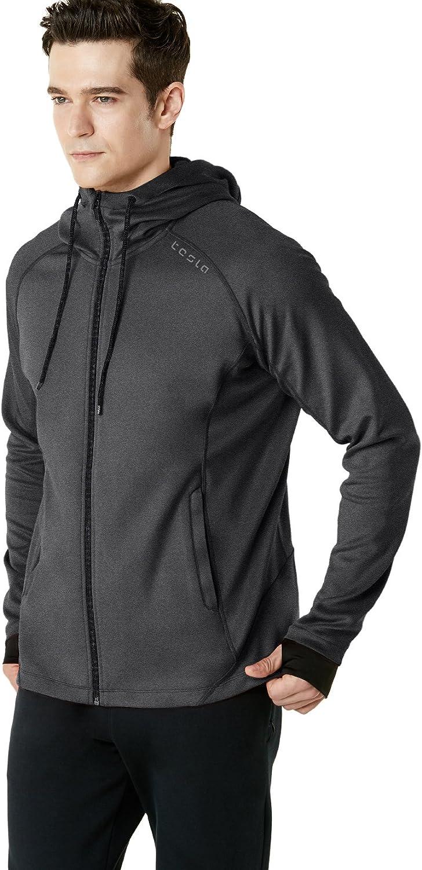 Long Sleeve Performance Training Hoodie TSLA Mens Full Zip Up Hoodie Jacket Lightweight Workout Running Track Jackets