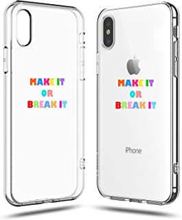 iPhone XR Case Women,Girls Funny Sassy Inspirational Motivational Attitude Quotes Make it or Break it Rainbow Cute Trendy Simple Chic Hipster Cool Clear Clear Soft Case Compatible for iPhone XR