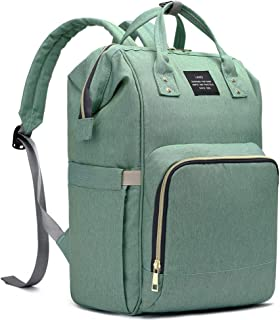 HaloVa Diaper Bag Multi-Function Waterproof Travel Backpack Nappy Bags for Baby Care, Large Capacity, Stylish and Durable, Green