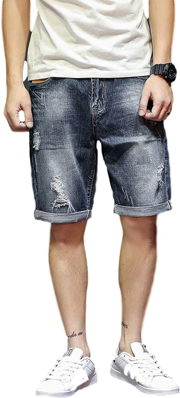 Beastle Men's Denim Shorts Retro Personality Ripped Denim Shorts Casual Trend Summer