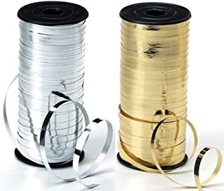 2-Pack - Silver & Gold - Curling Ribbon Bundle - 5mm wide - 1 Spool of Gold plus 1 spool of Silver - 100yds Each
