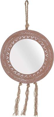 Foreside Home and Garden - Espejo de Henna con borlas