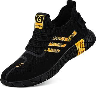 GLANOUDUN Zapatos de acero con puntera de acero transpirables para hombres de la moda, construcción industrial, zapatos pr...