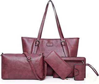 Fashion Women's Handbag 5 Piece Set Versatile Multi Piece Set (Color : Purple)