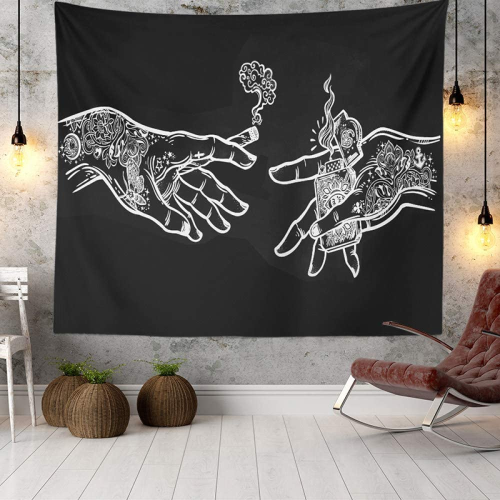 Wall Tapestry White and Black Floral Psychedelic Translated H Trippy Hands Ranking integrated 1st place
