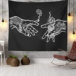 Wall Tapestry White and Black Floral Hands, Psychedelic Trippy Hippie Boho Novelty Tapestry Wall Hanging, Art Decor Print Fabric for Bedroom Living Room College Dorm,80×60 inch (200×150 cm)