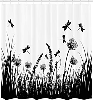 """Ambesonne Nature Shower Curtain, Grass Bush Meadow Silhouette with Dragonflies Flying Spring Garden Plants Display, Cloth Fabric Bathroom Decor Set with Hooks, 84"""" Extra Long, Black White"""