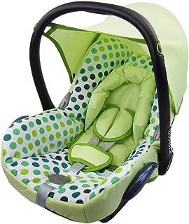 BAMBINIWELT Ersatzbezug für Maxi Cosi Cabrio Fix 6 tlg, Bezug für Babyschale, Sommerbezug PISTAZIEN + GRÜNE PUNKTE