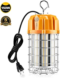 LED Temporary Construction Lighting, 150 Watt 5000K 21,750LM Replace 800W MH/HID/HPS Hanging Portable Work Light 10ft Cord with US Plug Instant On Job Site Areas Bay Warehouse Garage Lamp Plug-n-Play