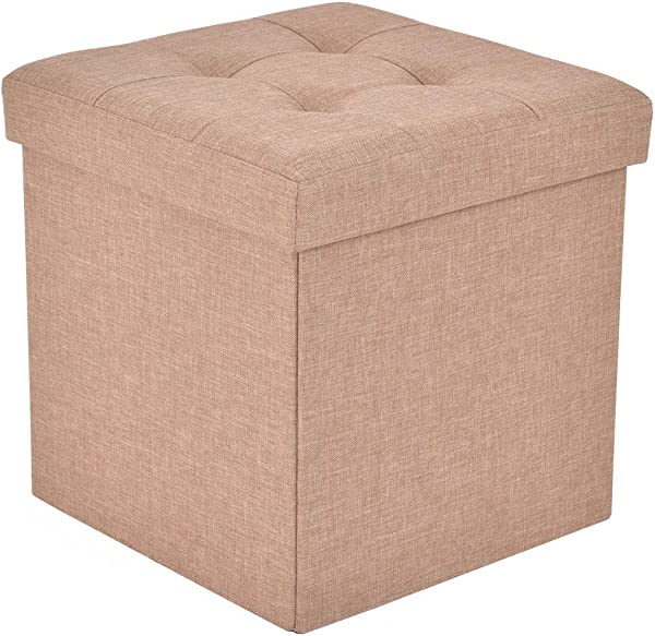GOFLAME Storage Ottoman Cube Linen Folding Foot Rest Stool Seat With Hidden Large Storage Space Cushioned Comfortable Top Fashionable And Multifunctional Beige