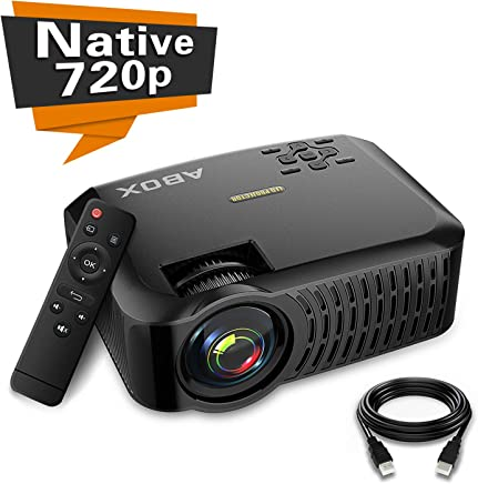 """Projector,2019 Newest ABOX A2 Native 720P Portable Home Theater LCD HD Video Projector,180"""" Large Screen and Dual HiFi Speakers,Support 1080p HDMI/VGA/AV Multiple Ports"""