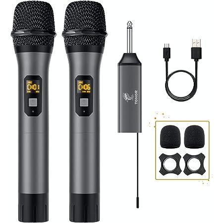 Microphone sans Fil, TONOR Système UHF de Micro Dynamique à Main Double en Métal avec Récepteur Rechargeable pour Karaoké, Mariage,DJ, Fête,Discours, Église, Classe, 60m (TW-630)
