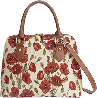 Signare Women's Red and White Tapestry Top Handle Handbag with Detachable Strap to Convert to Shoulder Bag with Poppy Flow...