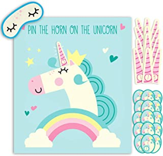 Hugo & Emmy Pin the Horn on the Unicorn Party Game for Birthday Parties and Sleepovers, Ideal for Kids and Toddlers