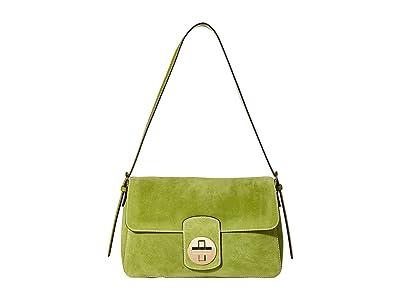 Frances Valentine Ruby Suede Medium Shoulder Flap Bag (Fern) Handbags