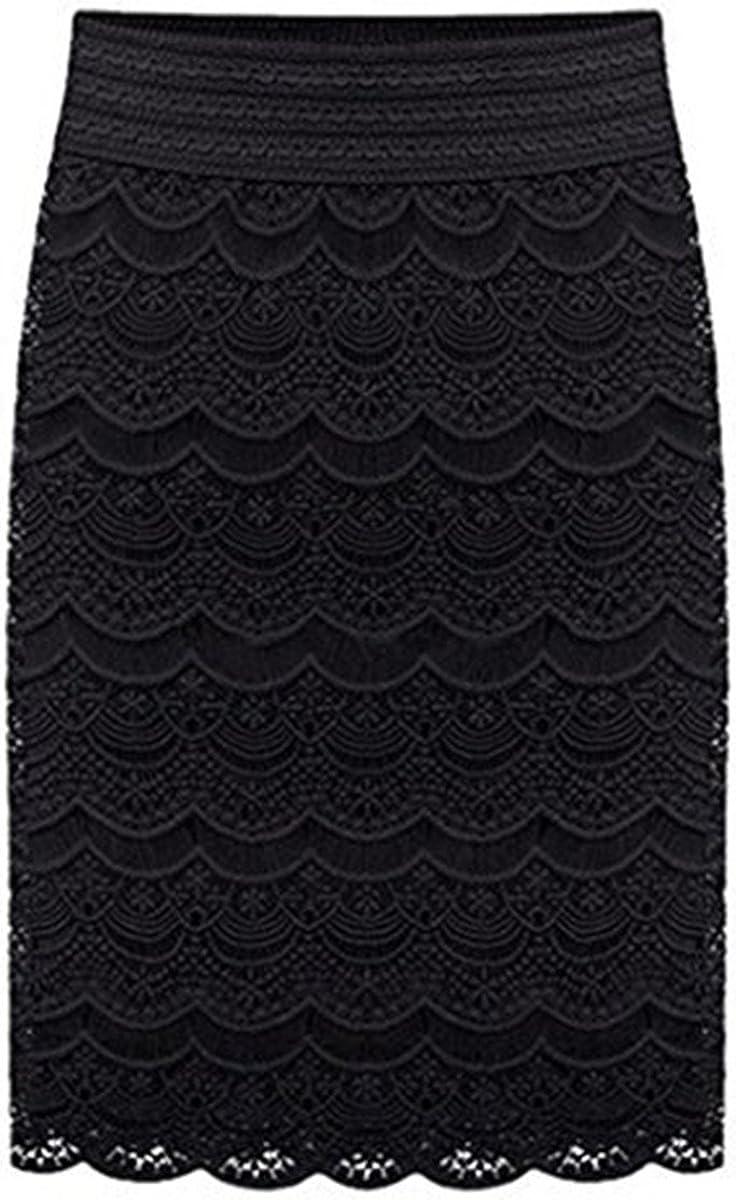 AOMEI Women's Lace High Waist Pencil Skirts