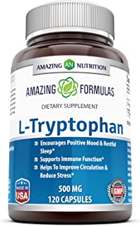 Amazing Formulas L-Tryptophan 500 mg 120 Capsules (Non GMO,Gluten Free) - Natural Sleep Aid Supplements with 500 mg of Fre...