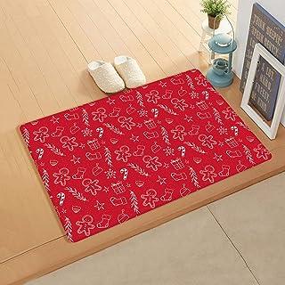 Doormat for Outdoor Indoor Front Door Entrance Kitchen 18''x30'', White Line Cookies Socks Gifts Candies Filling Christmas...