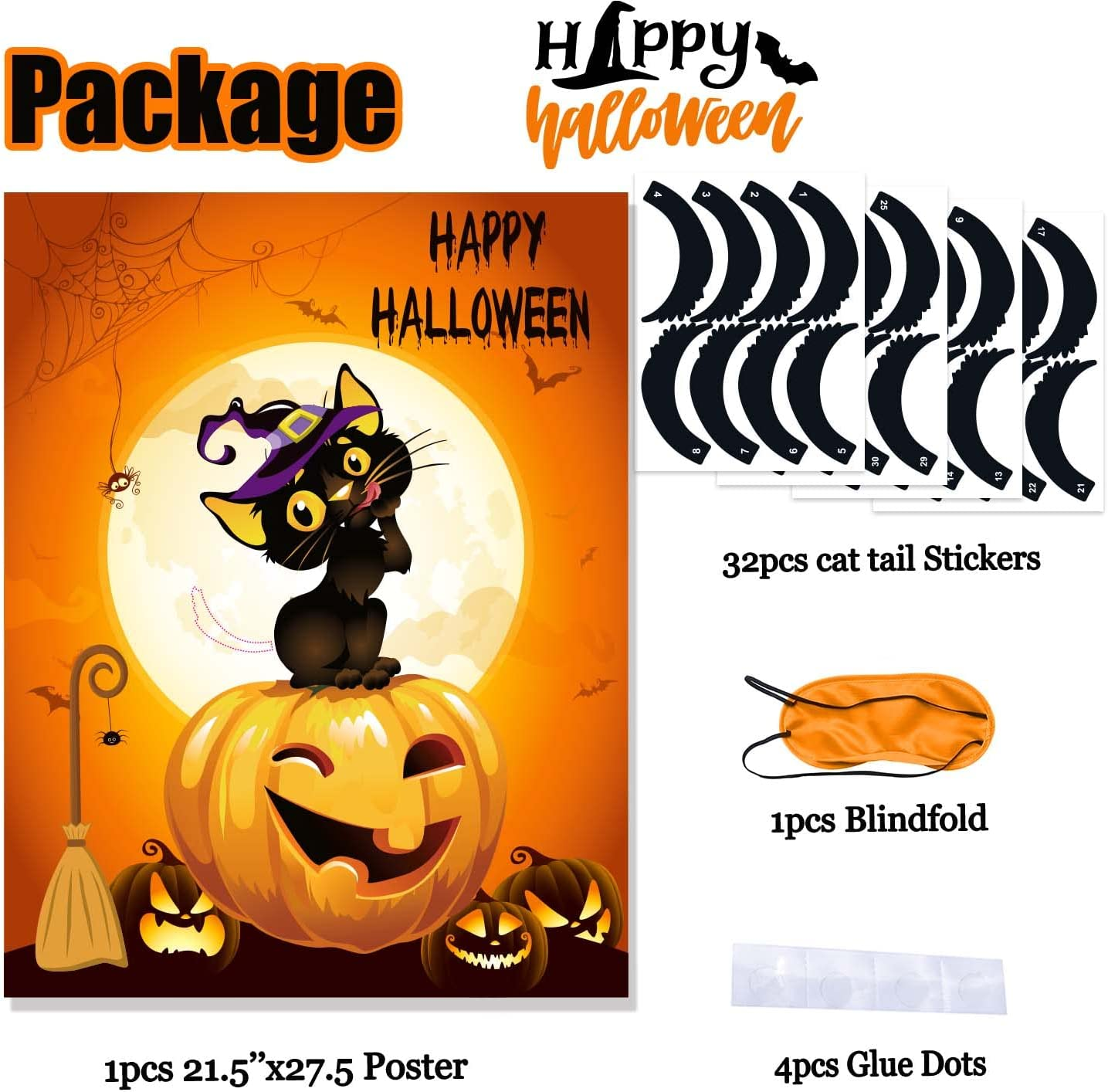 Amazon.com Funnlot Halloween Party Games for Kids Pin The Tails ...