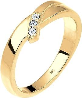 (Gold, M) - DIAMORE Women's 925 Sterling Silver 0.06 ct White Diamond Ring