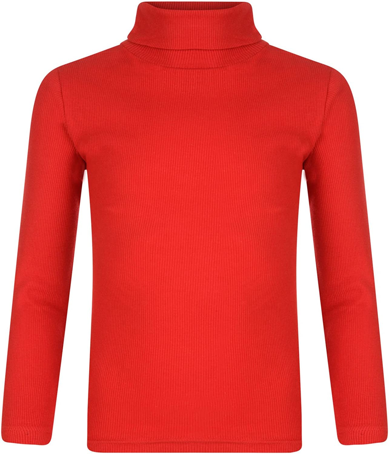 Girls Roll Neck Ribbed Knitted Longsleeve Top Polo Turtle Neck Cotton Jumper