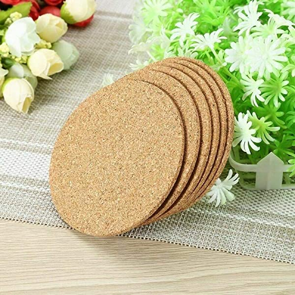 6Pcs Natural Cork Coasters With Round Edge 9cm Plain Heat Resistant Reusable Saucers For Cold Drinks Wine Glasses Plants Cups Mugs White 903mm