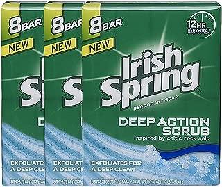 Irish Spring Deep Action Scrub Deodorant Bar Soap, 3.75 oz bars, 8 ea (Pack of 3)