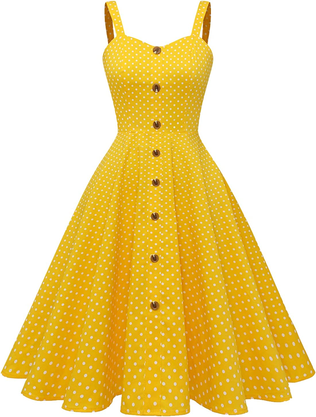 Wedtrend Women's 1950s Vintage Sleeveless A-Line Casual Button Down Party Swing Cocktail Dress