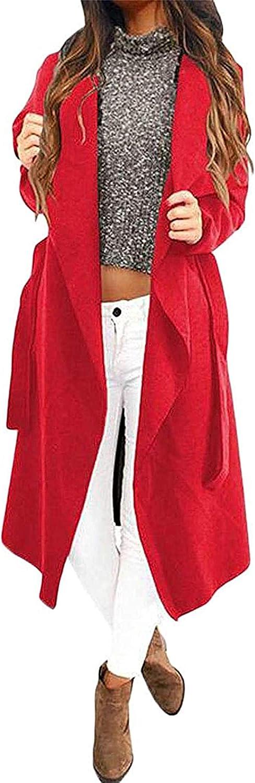 Hoolep Women Open Front Plus Size Fall Winter Wool Blend Loose Pea Coat Jacket Overcoat