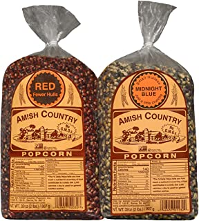 Amish Country Popcorn | 2 - 2 lb Bags | 2 lb Bag Red Popcorn Kernels & 2 lb Bag Midnight Blue Popcorn Kernels | Old Fashioned with Recipe Guide