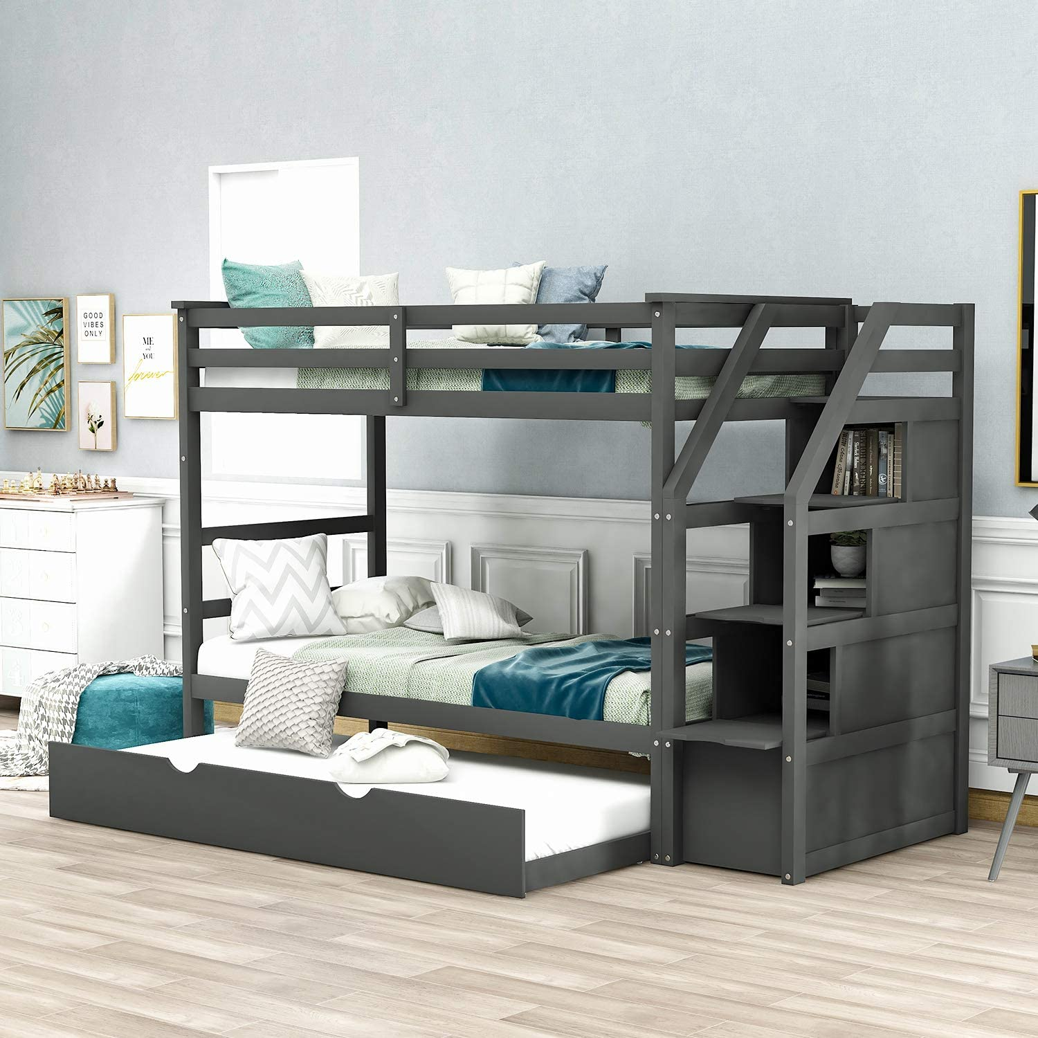 Buy Merax Solid Wood Twin Over Twin Bunk Bed Trundle Bunk Bed With 3 Storage Drawers Staircase And Safety Guard Rail For Boys Girls Teens And Adults Grey Online In Indonesia B08dl619kn