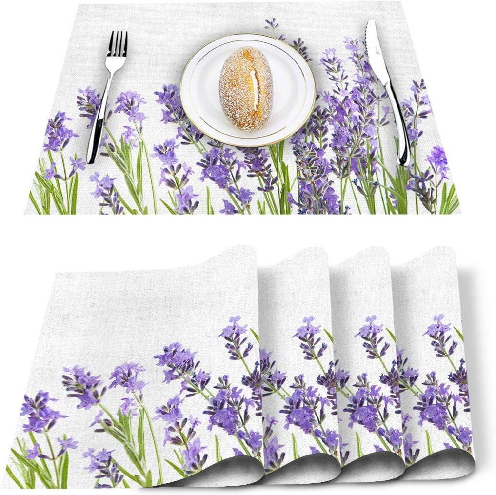 discount Al sold out. Artwork Store Placemats Set of Purple Lavender 6 Printed Floral