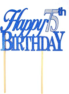 All About Details CATH75B Happy Topper,1pc, 75th Birthday, Cake, Party Decor (Blue & Silver), 6x8