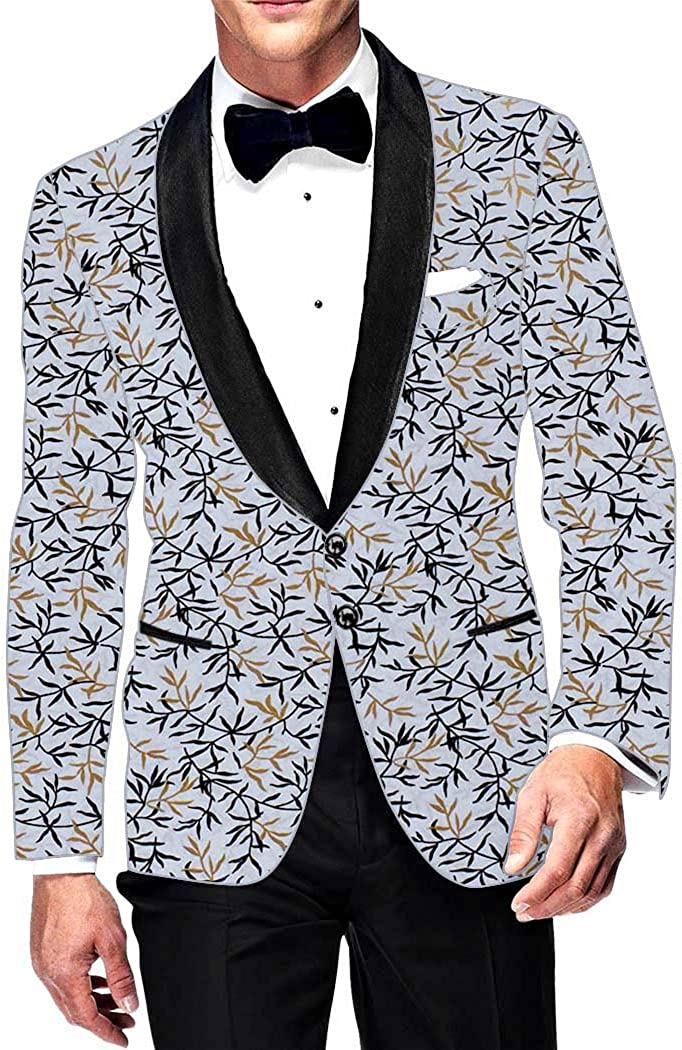 INMONARCH Mens Slim fit Casual Lavender Cotton Blazer Sport Jacket Coat Floral Printed SB14641