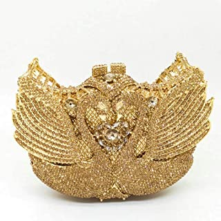 Bag for Women Individual Character European and American Banquet Bag Swan Diamond Package Dinner Package to Send Opponents to Take Bags Ladies Evening Bag 18 * 12 * 5.5cm (Color : E)
