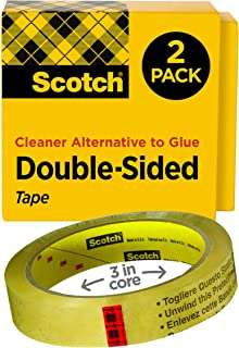 Scotch Double Sided Tape, Standard Width, No Liner, Trusted Favorite, 3/4 x 1296 Inches, 3 Inch Core, 2 Rolls (665-2P34-36)