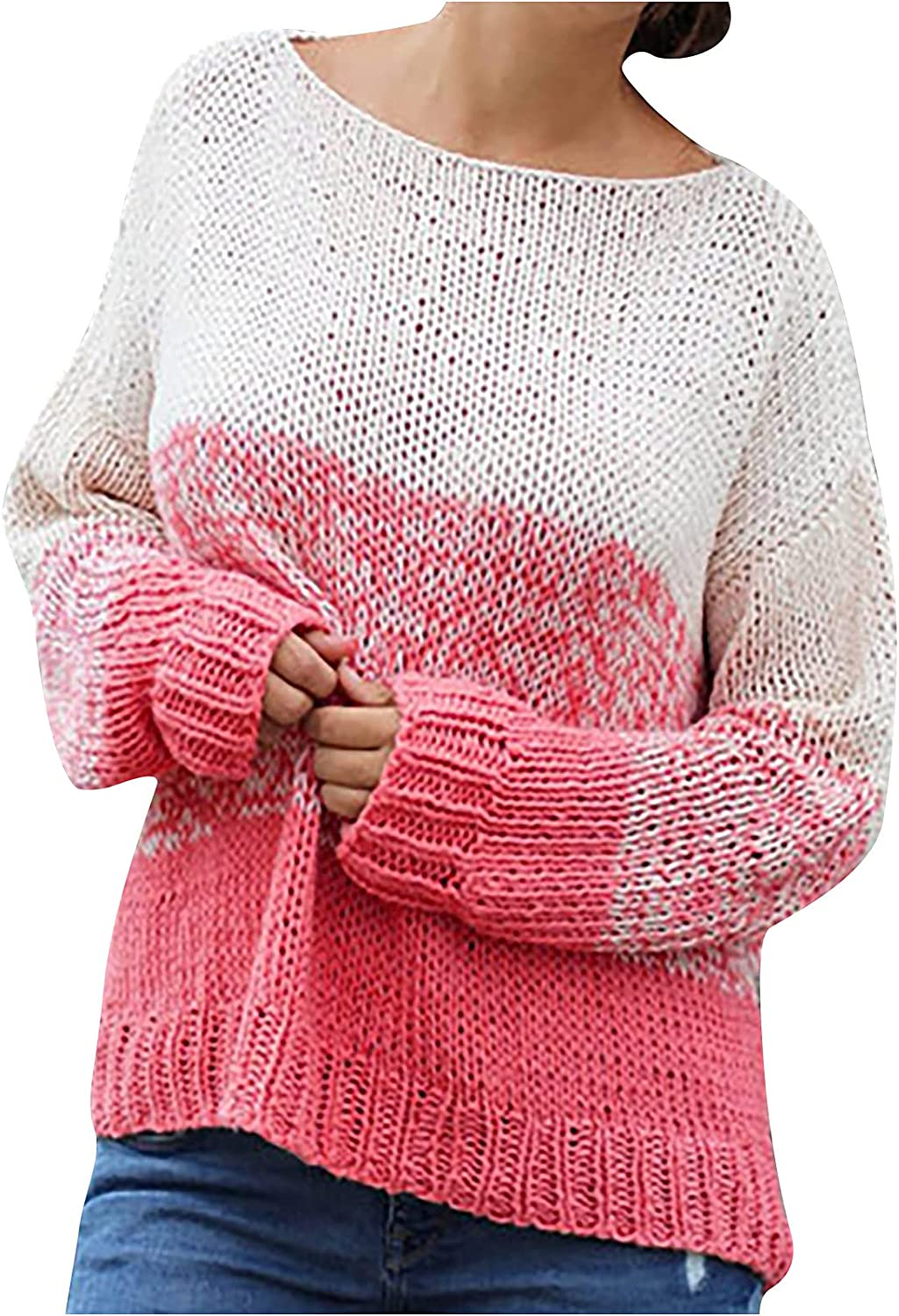 Color Block Knit Sweater for Women Long Sleeve Crew Neck Tie Dye Knitted Casual Loose Pullover Jumper Shirts Tops