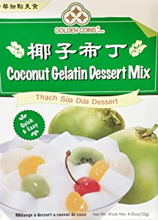 1 x 4.35oz Golden Coins Coconut Gelatin Oriental Dessert Mix. Just Add Water. Product of USA.