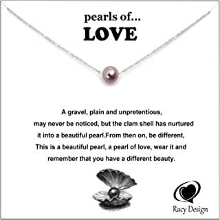 White Round Floating Pearl Pendant Single Pearl Necklace Love Necklace Best Gift for Women