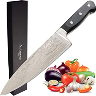Artigee Professional 8 Inch German Chef Knife - Long Lasting Razor Sharp Blade, Protective Sheath, High Carbon Stainless Steel Home & Restaurant Knife, Full Tang, Gift Box